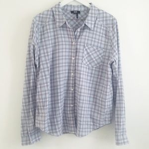 Paige Plaid Button Down Chambray Purple Size M